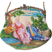 """Figural / Scenic Beaded Purse, """"courting couple"""", jeweled frame,"""