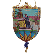"Figural / Scenic Beaded Purse, jeweled frame, very old, fantatstic detail, with writing ""Hoffnung lohnet"""