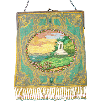 Scenic  Beaded Purse, gazebo, tiny beads, beautiful colors, great detail