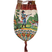"""Figural / Scenic Beaded Purse , """"Hunting scene with dogs"""" original drawstring and tassel, very old"""