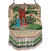 Figural / Scenic Beaded Purse, Lady at fountain,  jeweled frame