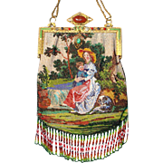 """Figural / Scenic Beaded Purse, """"Mother hold Child with dog"""" jeweled frame, very old, great colors"""