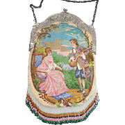 Figural / Floral Beaded Purse, ornate frame, large figures in period clothing, great detail