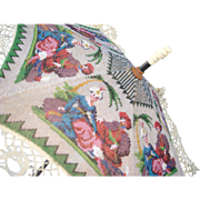 antique Beaded tilt Parasol, with Figural scene, all original with silk and lace, very rare