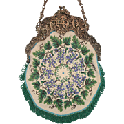 """Pie Crust"" style Beaded Purse, grape and leaves design, figural frame"