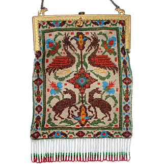 Scenic / Figural Beaded Purse, Rug design with mythologial animals, Frame with Elephants
