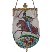 "Figural / Scenic Beaded Purse, 2 different scenes ""Russian Hussar"" and ""Hunting Scene"", jeweled frame"