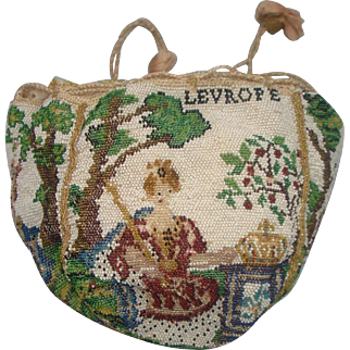 SABLE beaded Purse, FRANCE, 4 different figures representing different continents. very rare and very old