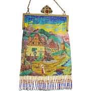 Scenic / Figural Beaded Purse, jeweled frame, rich colors, great detail