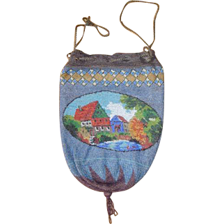 Scenic  Beaded Purse, village, original drawstring, and lining