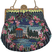 Scenic Beaded Purse, 2 different sides, great colors, wonderful detail, very unusual, jeweled frame