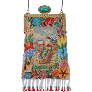 Scenic Beaded Purs with wonderful stand up jewel Frame