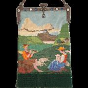 Figural fully Beaded Purse. Shepherd boy and girl, jewled frame