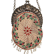 Beaded Purse, small pie crust, Sterling Frame