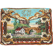 Scenic Beaded Purse, 2 different sides, tiny beads, wonderful detail, dated 1847, antique, pocket