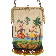 Figural / Scenic Beaded Purse, exotic scene of dancing couple