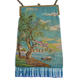 Scenic Beaded Purse, with tiny beads, wonderful colors and detail, tree, village, ocean, boat, large purse