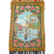 "on HOLD , Scenic  Beaded Purse, ""Venice"" scene, boat, jeweled frame, large purse, tiny beads"