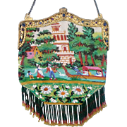 """Scenic / Figural Beaded Purse, 2 different sides, """"Dutch family in Pisa, Italy"""", gondola, tower, rare and unusual"""