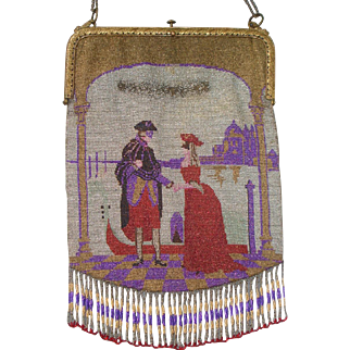 Figural / Scenic Beaded Purse, Venice, couple in carnival costumes, gondola