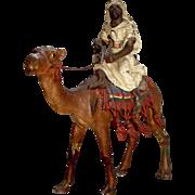 "BERGMAN Vienna Bronze Cold Painted Figure, ""Arab rider on Camel""  5 1/2"" tall, rare"