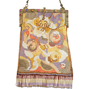 """Beaded Purse by """"Wiener Werkstaeette"""" abstract design with unusual design and colors"""