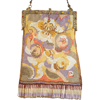 "Beaded Purse by ""Wiener Werkstaeette"" abstract design with unusual design and colors"