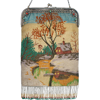 Scenic Beaded Purse with winter scene, very unusual, jeweled frame