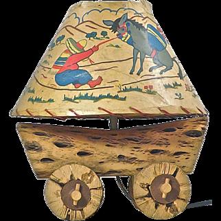 Mid-Century Modern Southwestern Cactus Wagon Lamp