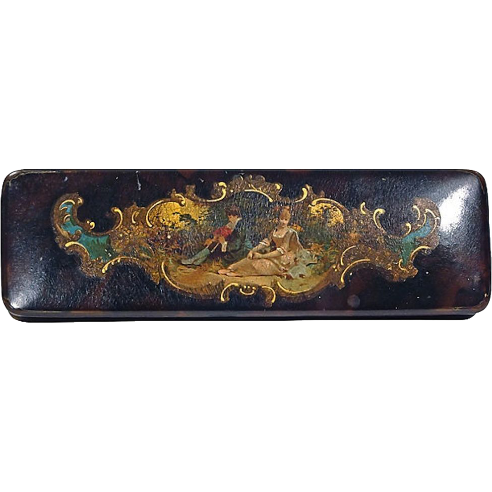 antique papier mache hand painted box from vermiliondesigns on ruby lane. Black Bedroom Furniture Sets. Home Design Ideas