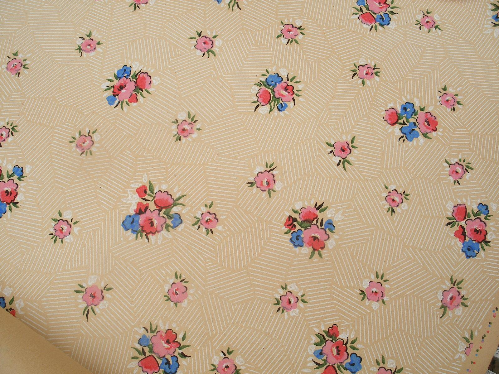 6 yards vintage french wallpaper c1920s 30s pretty ditsy for Old french wallpaper
