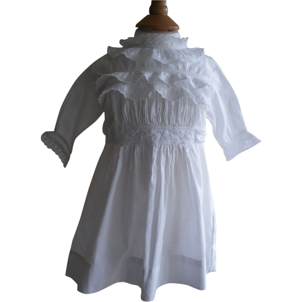 Victorian antique baby or doll dress white cotton & lace