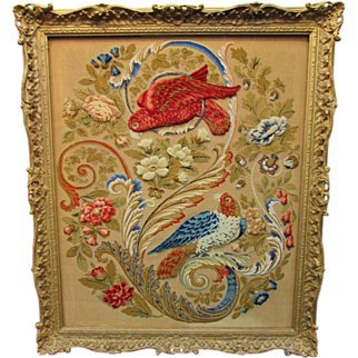 English Needlepoint/Stumpwork, 19th C.
