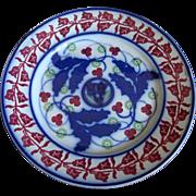 19th Century Flowing Blue Bullseye Stick Spatter/Sponge ware Plate