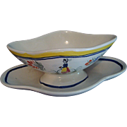 Quimper Gravy Boat - attached tray
