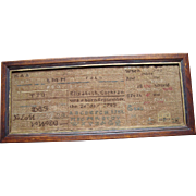 19th Century American Sampler - Peabody, Massachusetts