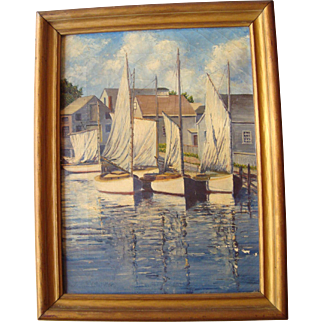 Nantucket Colony Artist - James F. Barker Oil on Canvas - 1871-1950