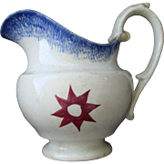Antique Spatterware Blue/Red Star Creamer - Red Tag Sale Item