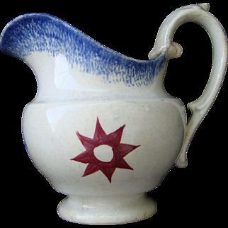 Antique Spatterware Blue/Red Star Creamer