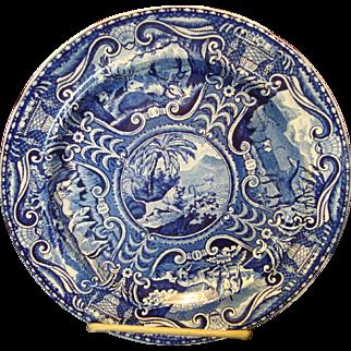 Blue & White Staffordshire Transfer ware Quadrupeds Plate - Lion