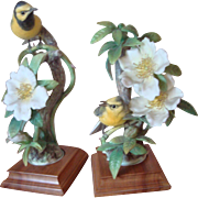 Royal Worcester Bird Figurines - Hooded Warblers - Dorothy Doughty