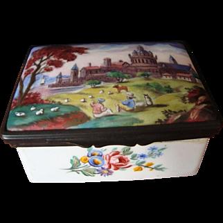 18th Century Battersea Enamel Table Snuff Box