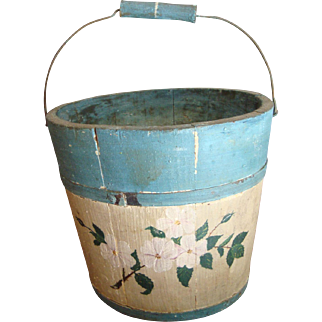 Primitive Swing Handle Child Size Bucket-Paint decorated