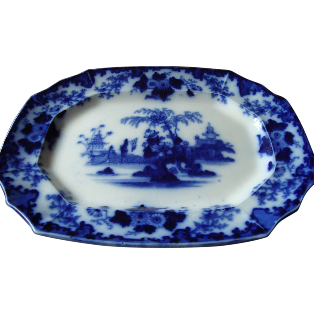 Th century large flow blue quot scinde platter sold on ruby