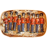 A set of nine early wooden soldiers from the Erzgebirge