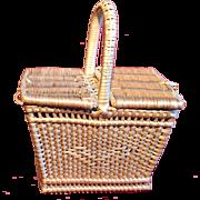 A square wicker dolls picnic basket