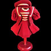 Wonderful Red Wool Twill French Mariner Three-Piece Costume