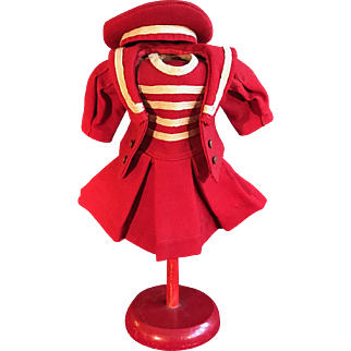 Wonderful Red Wool Twill French Mariner Three-Piece Costume