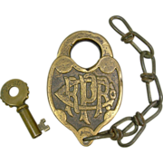 Fraim PRR Co Brass Fancyback RR Switch Lock (Damaged) and PRSL Knobby Key