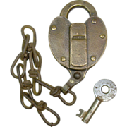 Adlake SPCO Southern Pacific Co Railroad  Cast Brass Lock and Key Set
